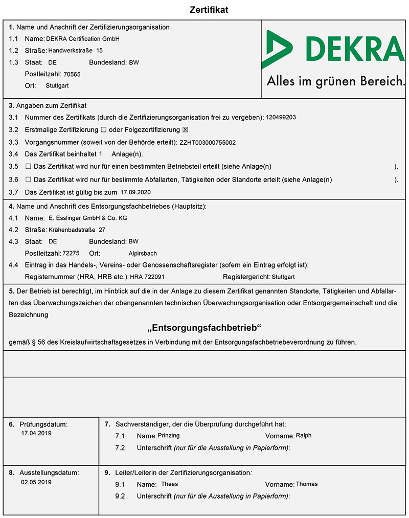 Zertifikat DEKRA
