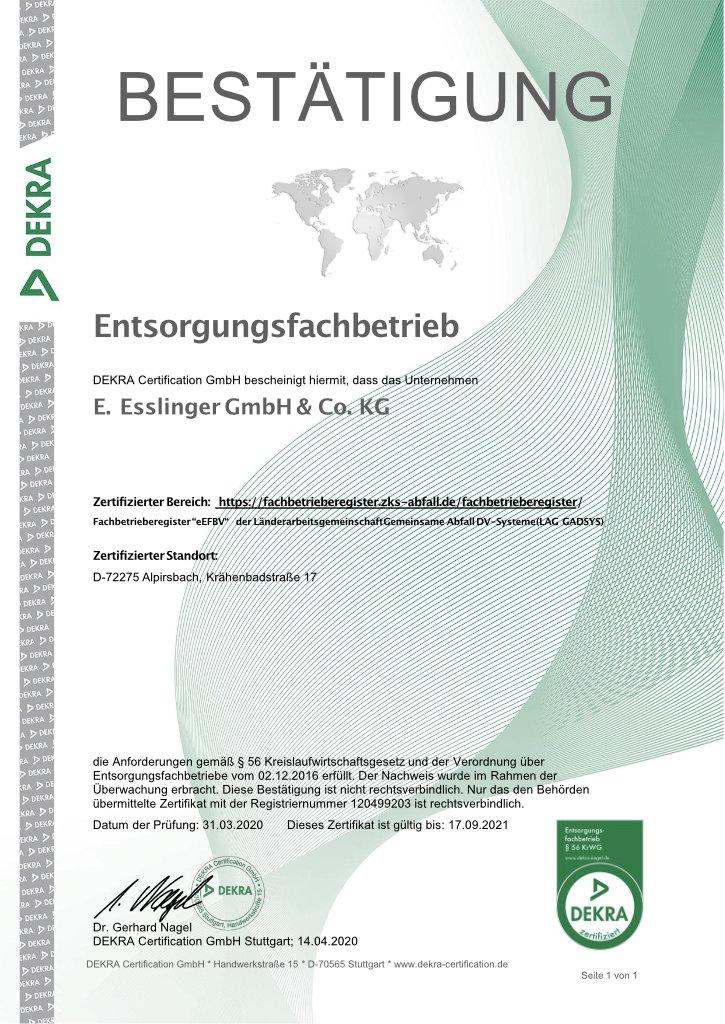 Esslinger Entsorgung Zertifikat